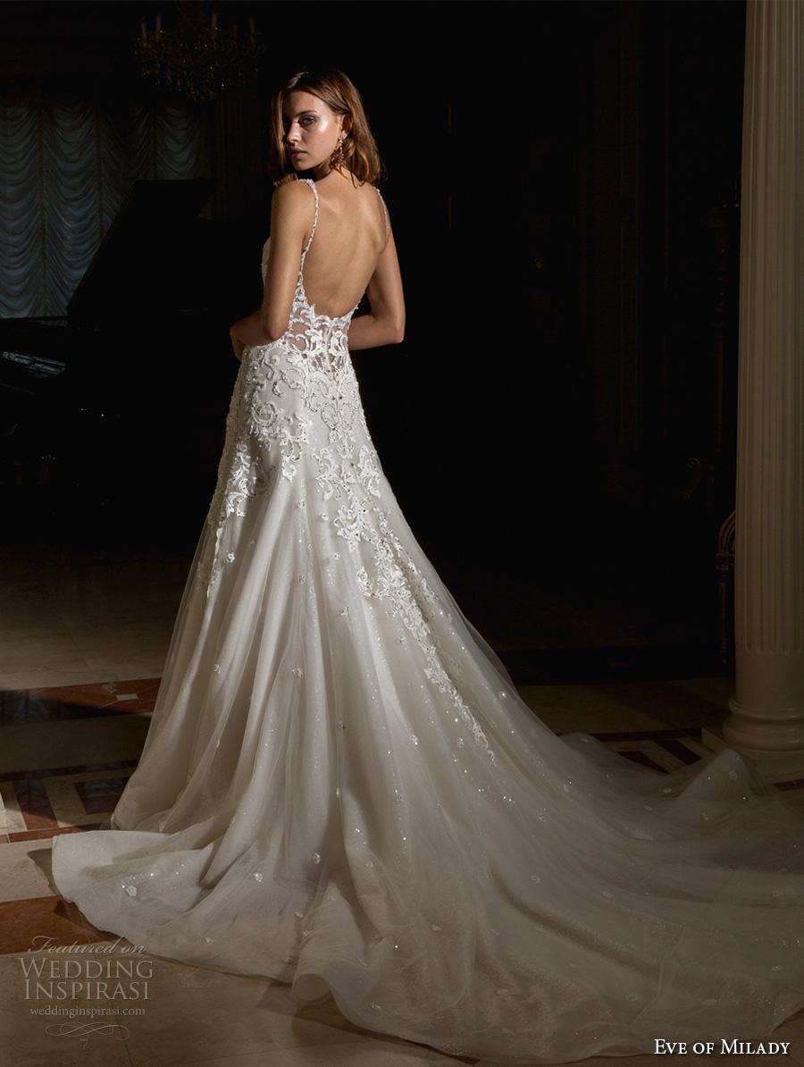 eve of milady spring 2017 bridal spagetti strap sweetheart neckline heavily embellished bodice elegant glamorous a  line wedding dress open scoop back chapel train (4355) bv