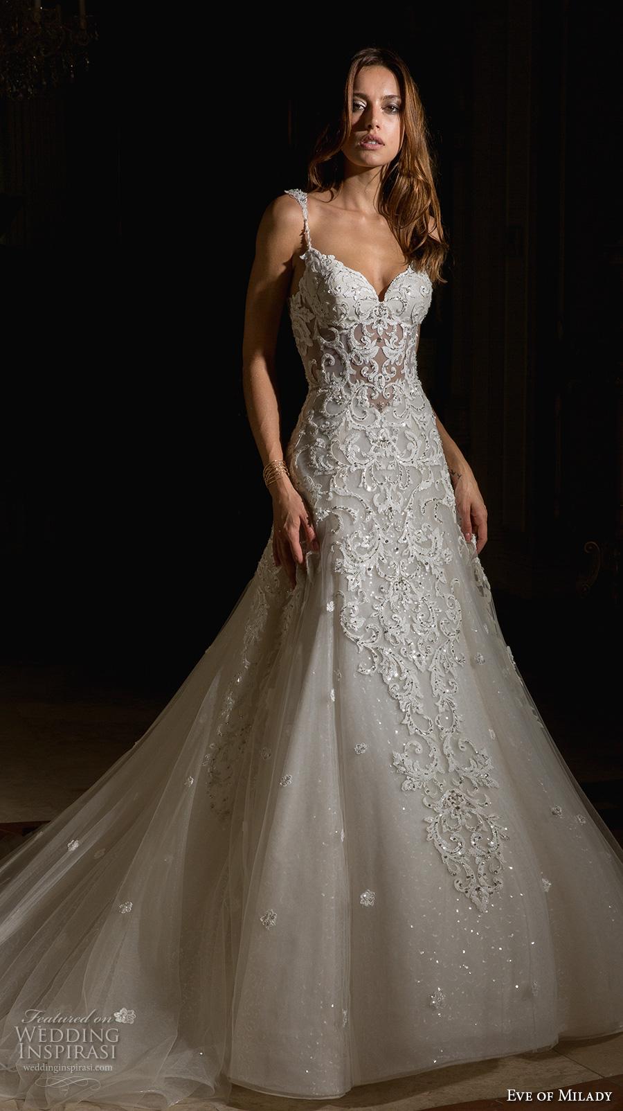 eve of milady spring 2017 bridal spagetti strap sweetheart neckline heavily embellished bodice elegant glamorous a  line wedding dress open scoop back chapel train (4355) mv