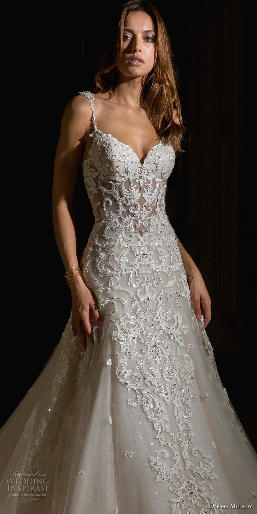 eve of milady spring 2017 bridal spagetti strap sweetheart neckline heavily embellished bodice elegant glamorous a  line wedding dress open scoop back chapel train (4355) zv