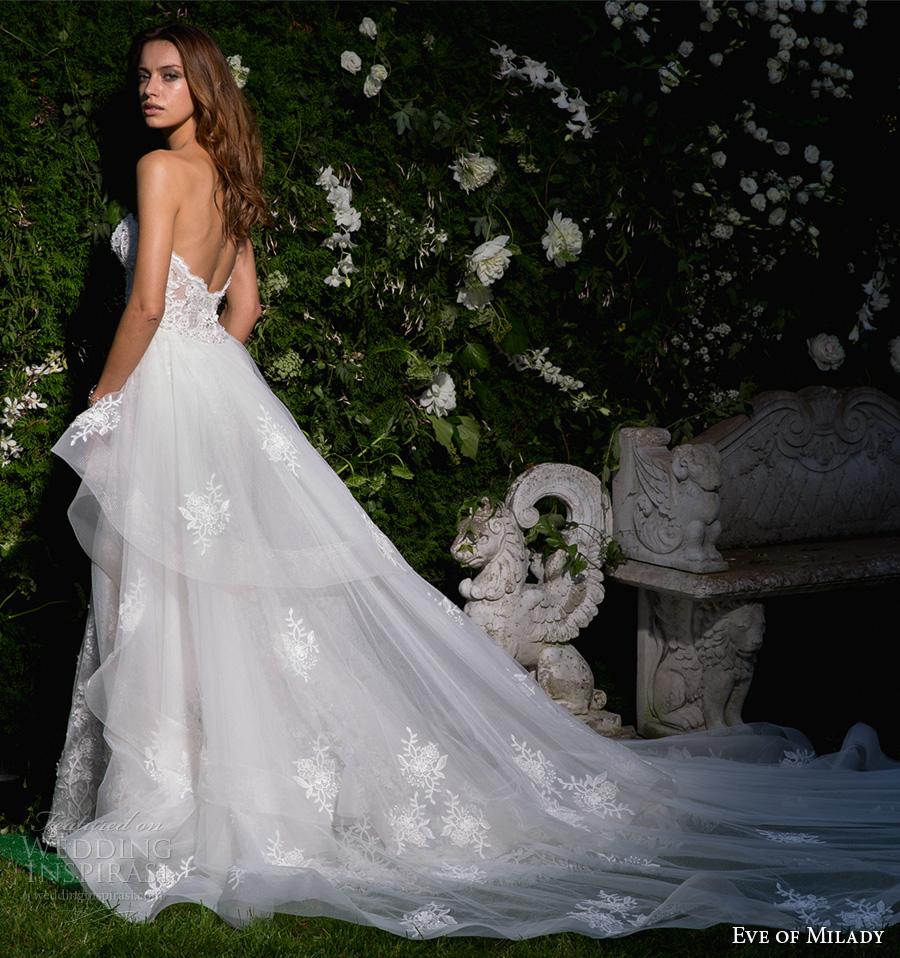 eve of milady spring 2017 bridal strapless sweetheart neckline full embellishment elegant sexy fit and flare wedding dress open back long train (4358) bv