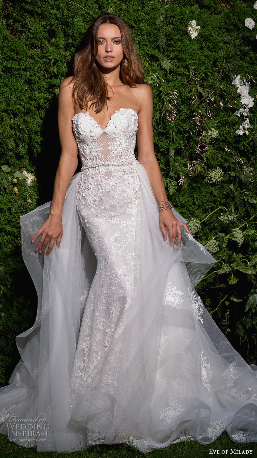 eve of milady spring 2017 bridal strapless sweetheart neckline full embellishment elegant sexy fit and flare wedding dress open back long train (4358) mv