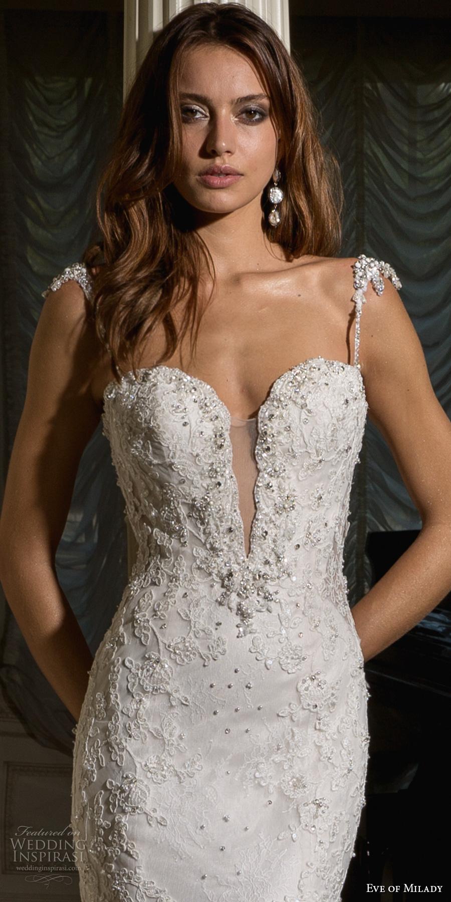 eve of milady spring 2017 bridal thin strap deep plunging sweetheart neckline heavily embellished bodice elegant fit and flare wedding dress open v back chapel train (4354) zv