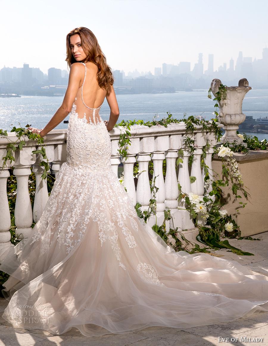 eve of milady spring 2017 bridal thin strap deep sweetheart neckline heavily embellished bodice glamorous elegant fit and flare wedding dress open scoop back chapel train (4359) bv