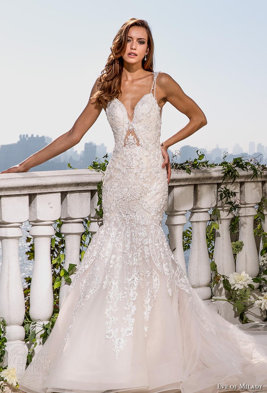 eve of milady spring 2017 bridal thin strap deep sweetheart neckline heavily embellished bodice glamorous elegant fit and flare wedding dress open scoop back chapel train (4359) mv