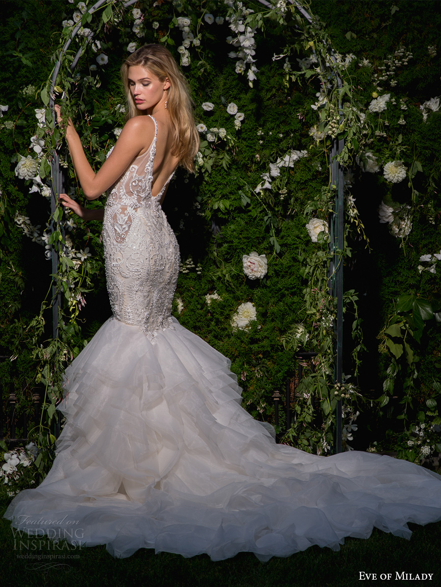 eve of milady spring 2017 bridal thin strap deep v neck heavily embellished bodice layered skirt glamorous elegant mermaid wedding dress open scoop back chapel train (1582) bv