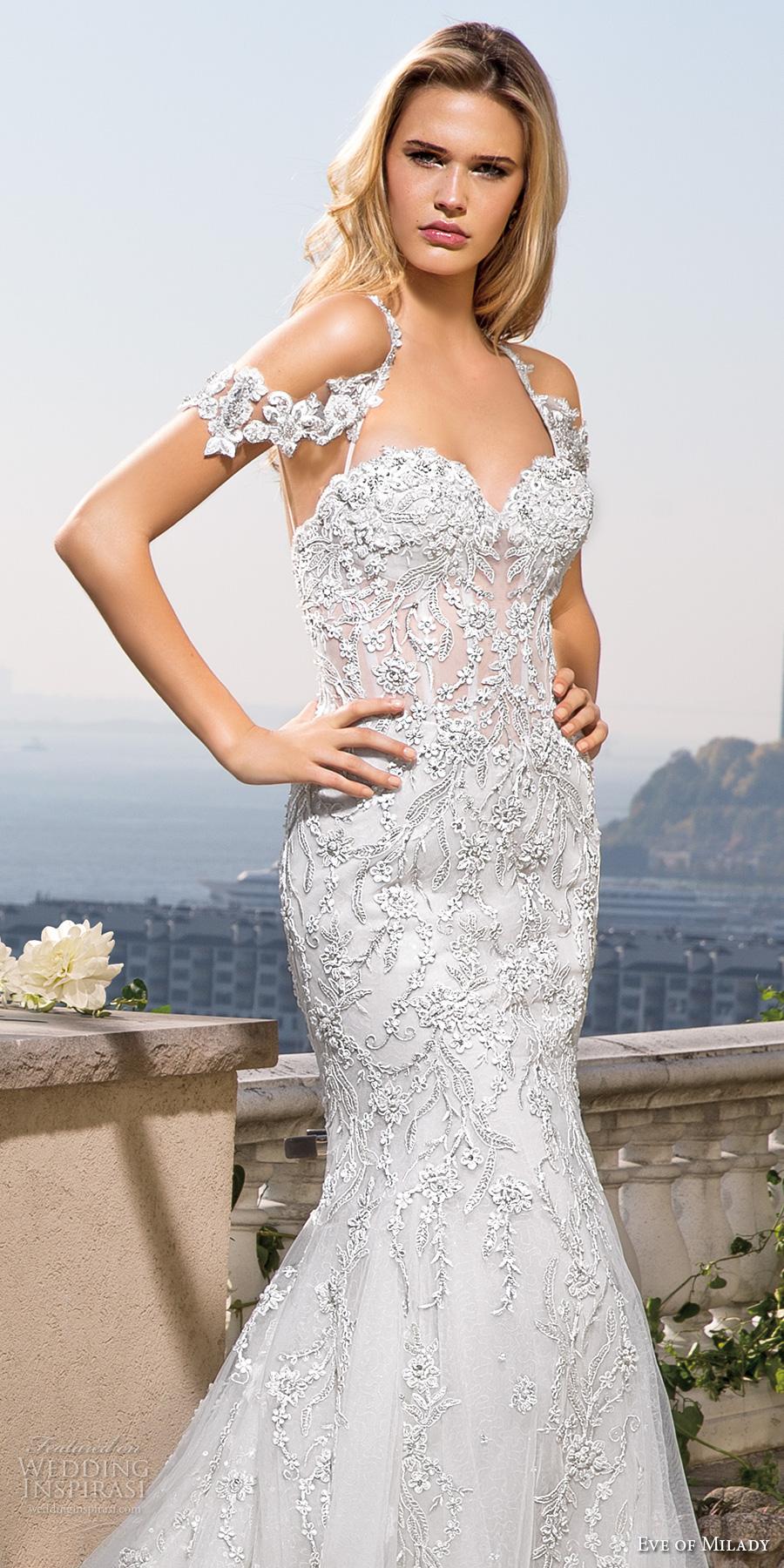 eve of milady spring 2017 bridal thing strap halter neck sweetheart neck full embellishment glamorous elegant fit and flare wedding dress chapel train (4356) zv