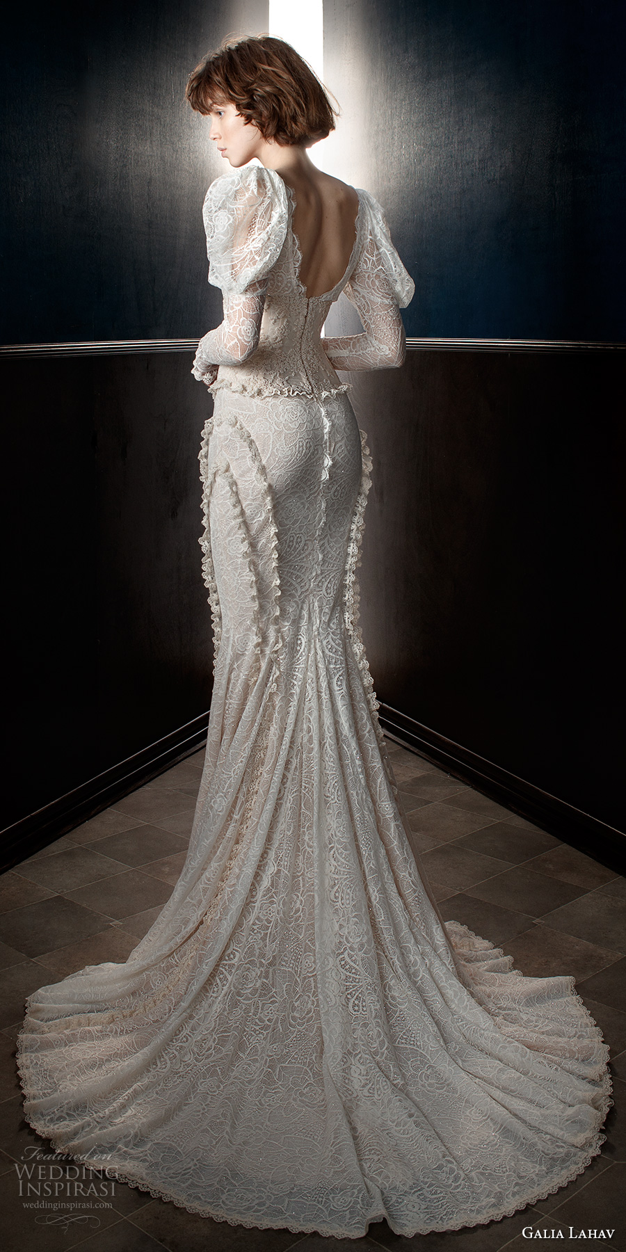 galia lahav spring 2018 bridal leg of mutton long sleeves v neck full embellishment elegant vintage fit and flare wedding dress mid scoop back chapel train (charlie and dolly belt) zv