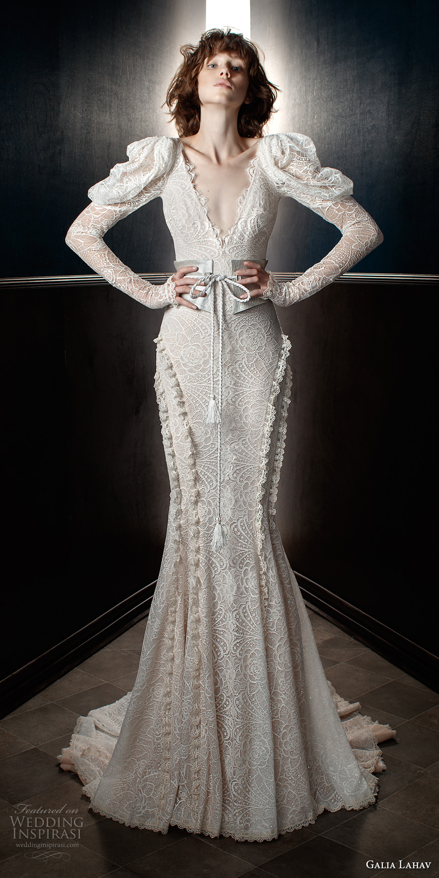 galia lahav spring 2018 bridal leg of mutton long sleeves v neck full embellishment elegant vintage fit and flare wedding dress open v back chapel train (charlie and molly belt) mv
