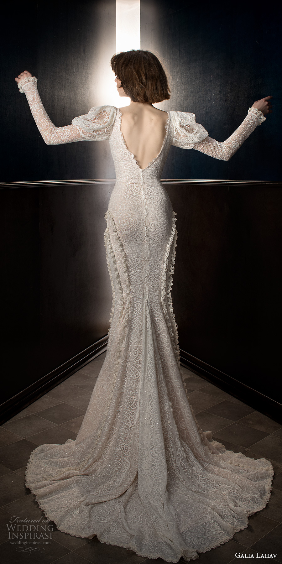 galia lahav spring 2018 bridal leg of mutton long sleeves v neck full embellishment elegant vintage fit and flare wedding dress open v back chapel train (charlie) bv
