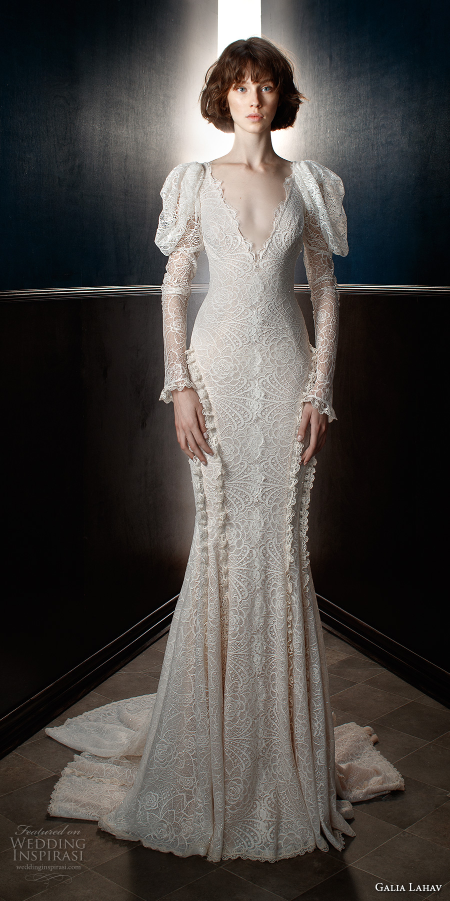 galia lahav spring 2018 bridal leg of mutton long sleeves v neck full embellishment elegant vintage fit and flare wedding dress open v back chapel train (charlie) mv