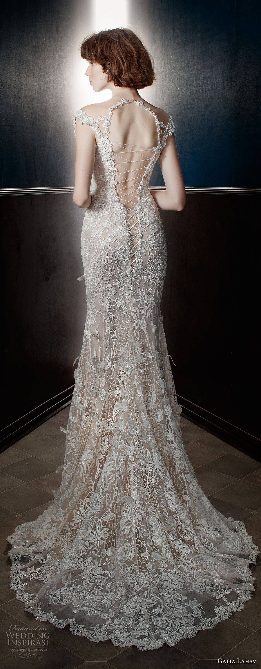 galia lahav spring 2018 bridal long bishop sleeves deep plunging v neck full embellishment elegant fit and flare wedding dress keyhole back sweep train (lia) bv
