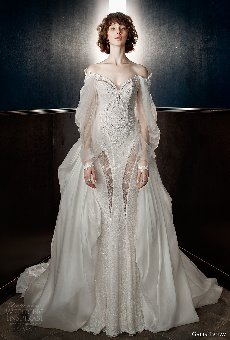 galia lahav spring 2018 bridal long bishop sleeves off the shoulder sweetheart neckline heavily embellished bodice vintage fit and flare wedding dress a  line overskirt chapel train (thelma) mv