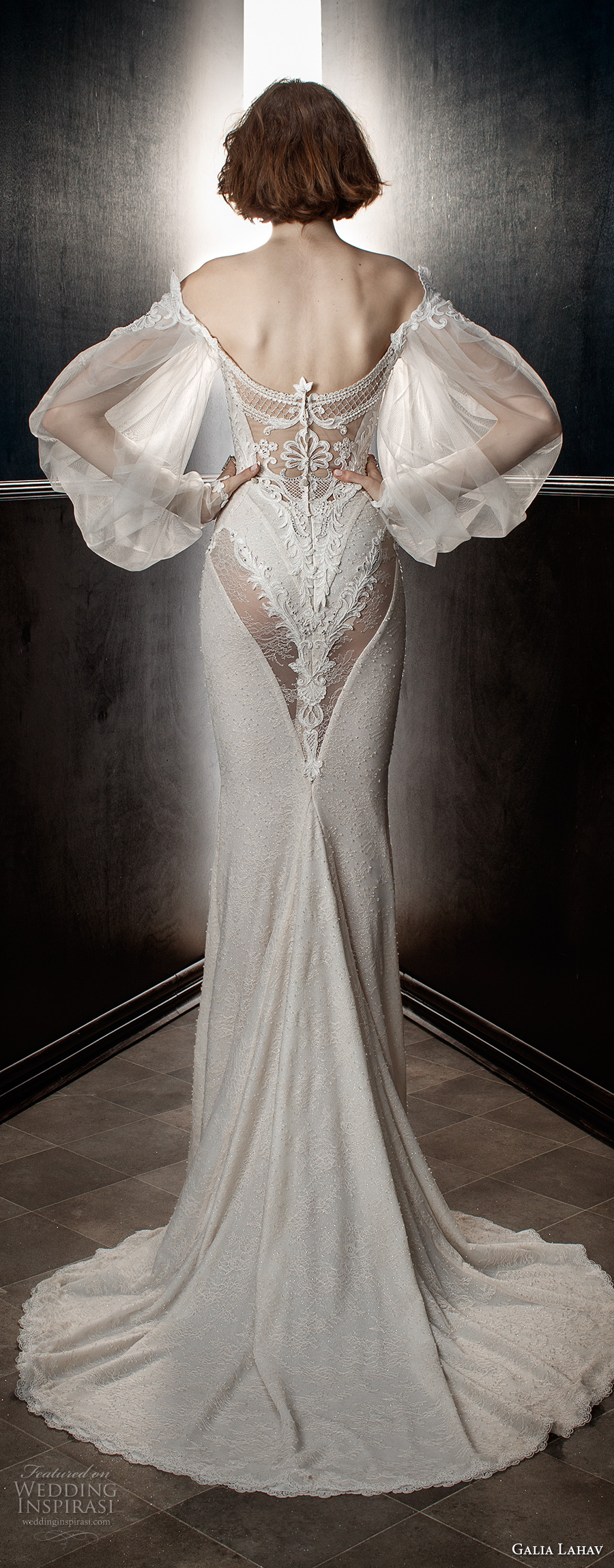 galia lahav spring 2018 bridal long bishop sleeves off the shoulder sweetheart neckline heavily embellished bodice vintage fit and flare wedding dress sweep train (thelma) bv
