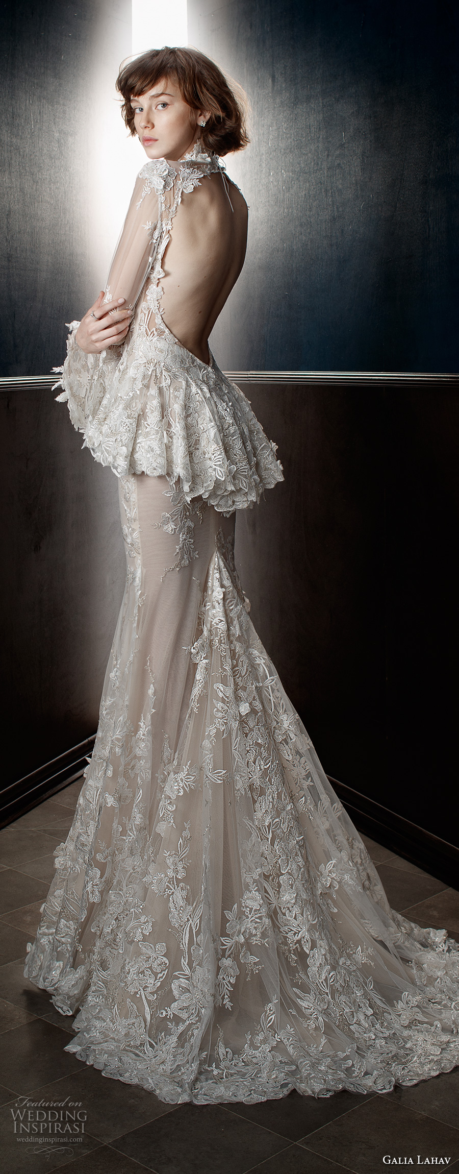 galia lahav spring 2018 bridal long sleeves sheer high neck sweetheart neckline full embellishment peplum victorian vintage sheath wedding dress keyhole back sweep train (tesla) bv