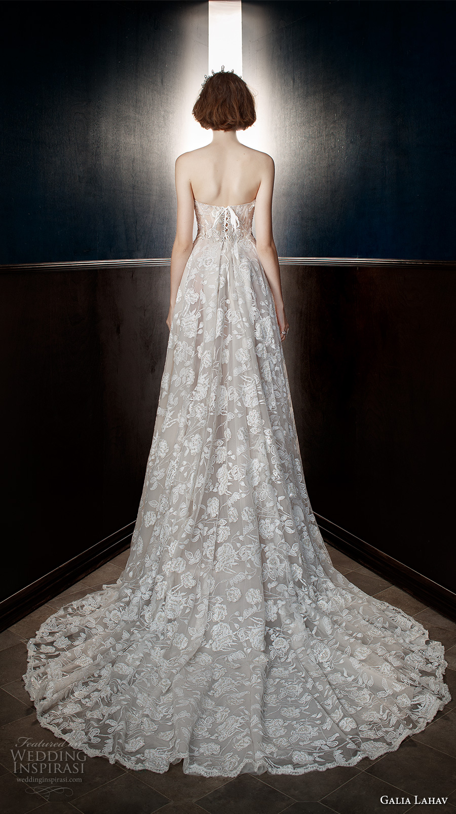 galia lahav spring 2018 bridal strapless sweetheart neckline full embellishment romantic princess a  line wedding dress mid back chapel train (georgia) bv