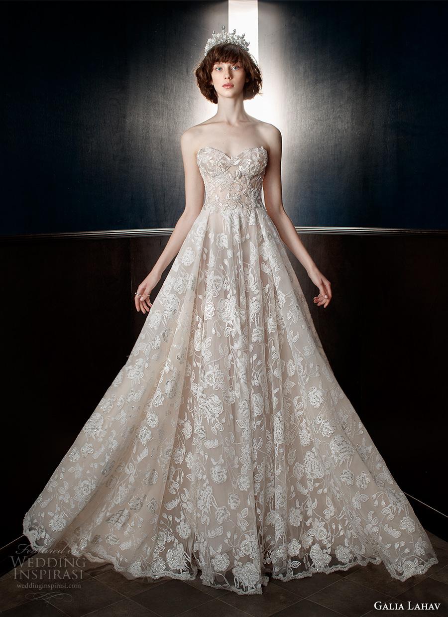 galia lahav spring 2018 bridal strapless sweetheart neckline full embellishment romantic princess a  line wedding dress mid back chapel train (georgia) mv