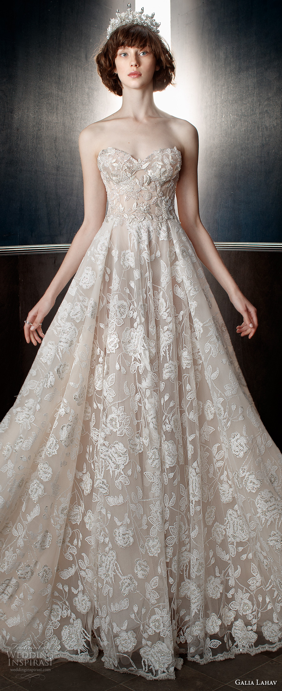 galia lahav spring 2018 bridal strapless sweetheart neckline full embellishment romantic princess a  line wedding dress mid back chapel train (georgia) zv