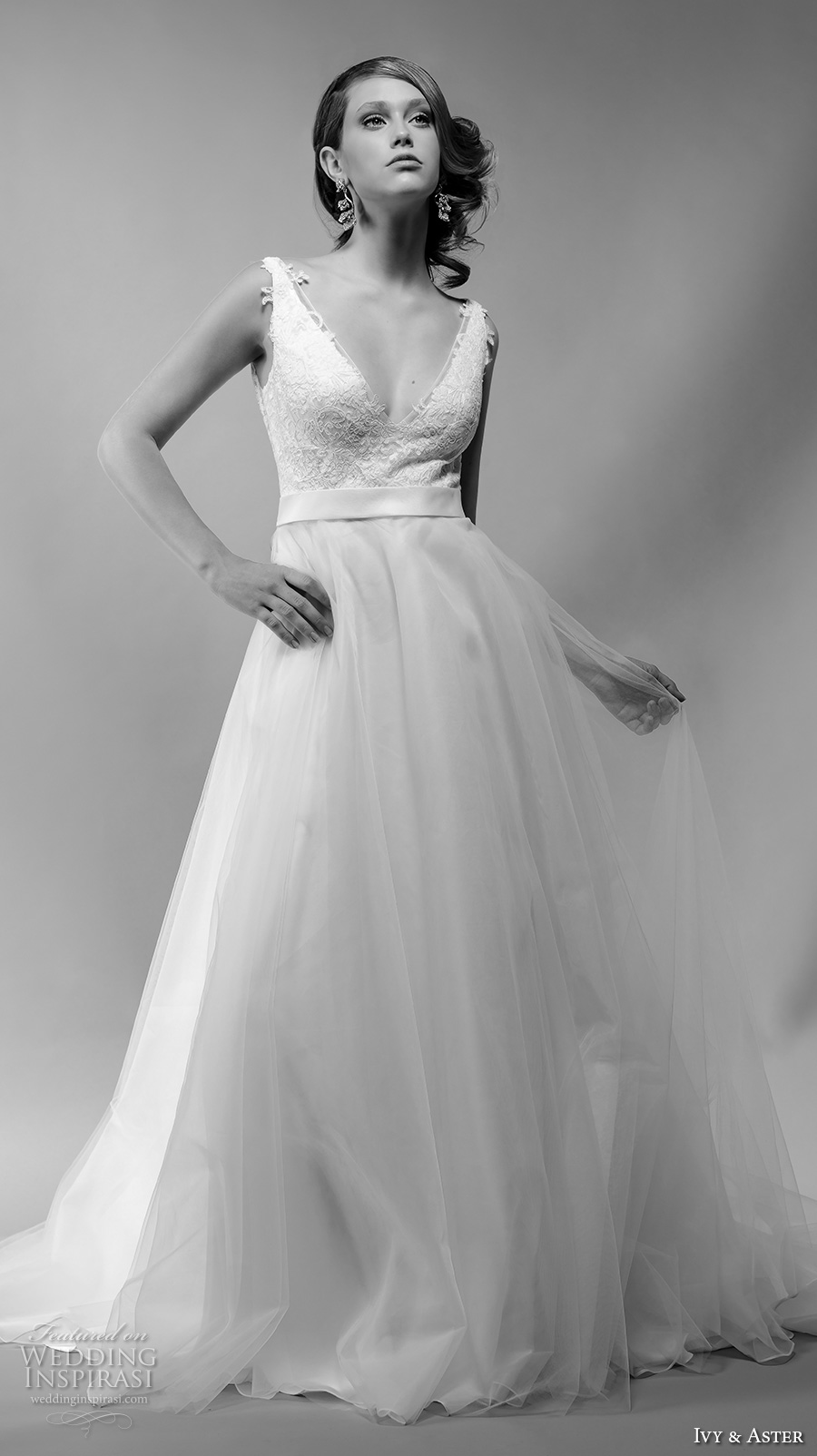 ivy and aster spring 2018 bridal sleeveless deep v neck heavily embelliished bodice tulle skirt romantic a  line wedding dress sheer back chapel train (noelle) mv
