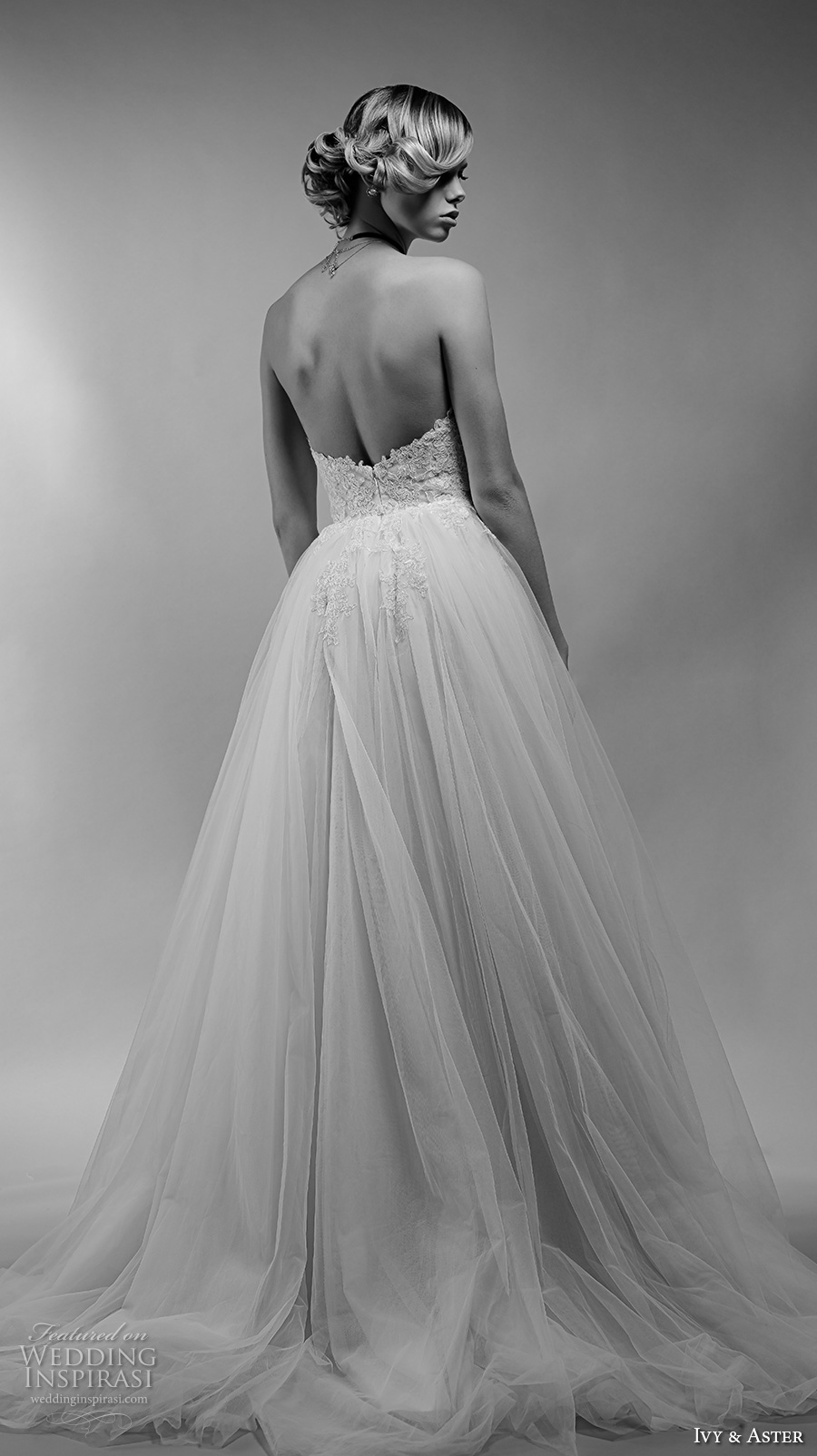 ivy and aster spring 2018 bridal strapless heavily embellished bodice tulle skirt romantic a  line wedding dress open back chapel train (aurelle) bv