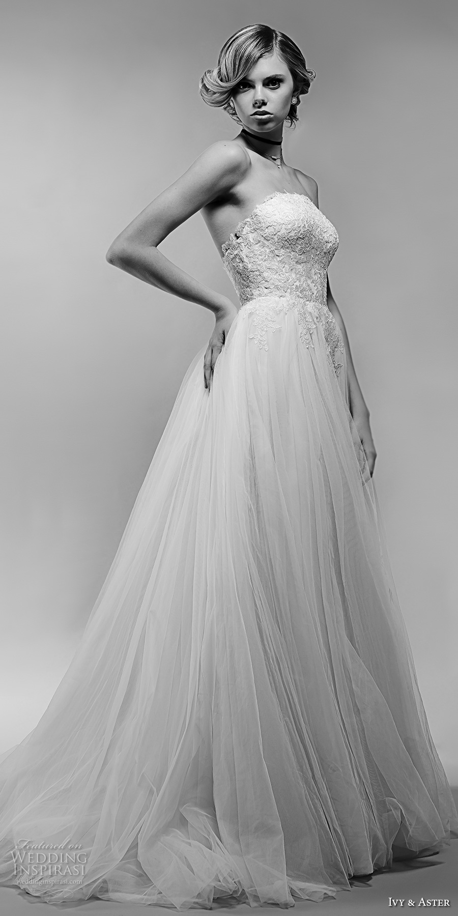 ivy and aster spring 2018 bridal strapless heavily embellished bodice tulle skirt romantic a  line wedding dress open back chapel train (aurelle) mv
