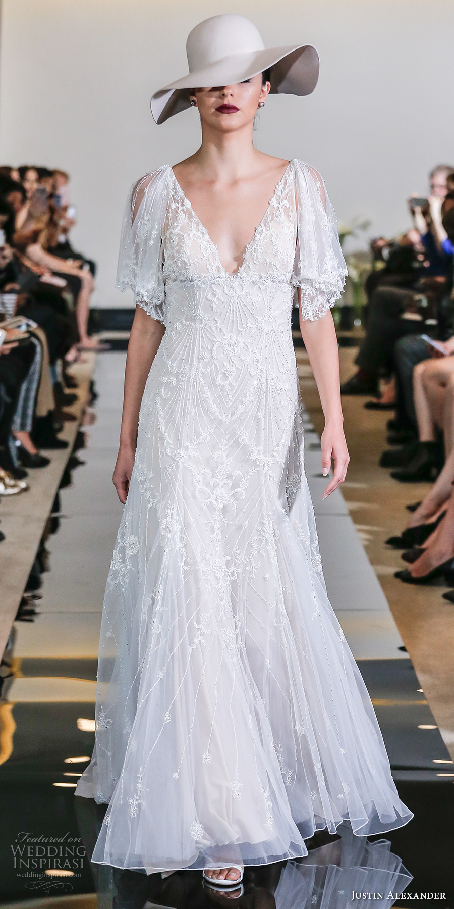 justin alexander spring 2018 bridal handkerchief short sleeves v neck full embellishement bohemian modified a  line wedding dress chapel train (23) mv