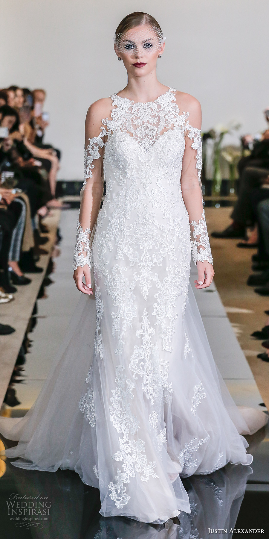 justin alexander spring 2018 bridal long sleeves illusion jewel sweetheart neckline full embellishement elegant sheath wedding dress chapel train (22) mv