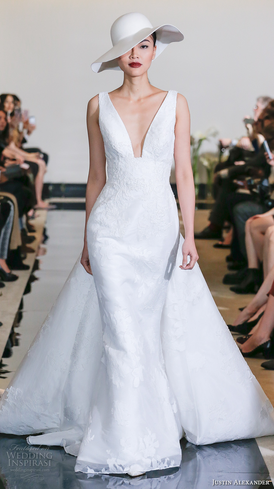 justin alexander spring 2018 bridal sleeveless deep plunging v neck light embellishment elegant fit and flare wedding dress flare chapel train (19) mv
