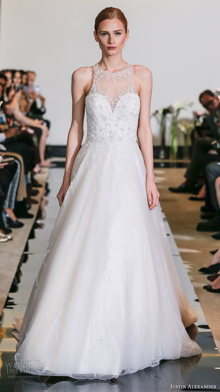 justin alexander spring 2018 bridal sleeveless illusion halter sweetheart neckline heavily embellished bodice romantic a  line wedding dress chapel train (24) mv