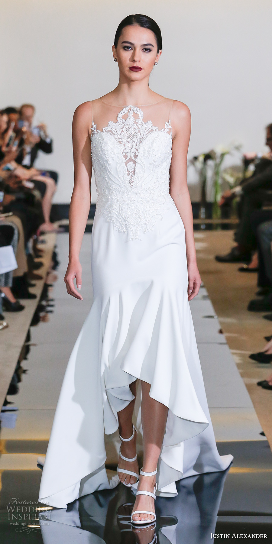 justin alexander spring 2018 bridal sleeveless illusion jewel sweetheart neckline heavily embellished bodice elegant high low fit and flare wedding dress chapel train (07) mv