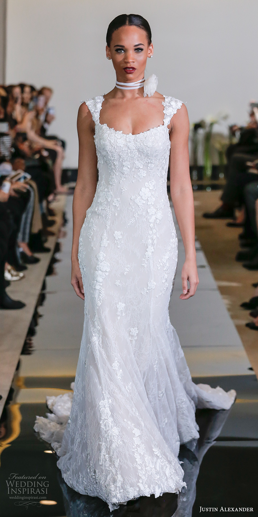 justin alexander spring 2018 bridal sleeveless thick strap square neckline full embellishment elegant fit and flare wedding dress chapel train (21) mv