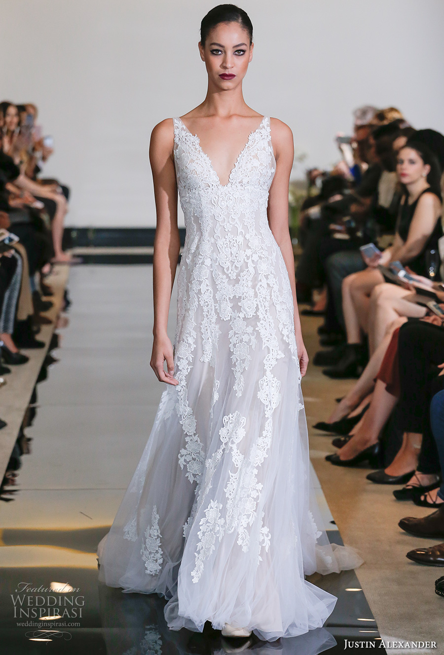 justin alexander spring 2018 bridal sleeveless v neck full embellishment elegant romantic flowy modified a  line wedding dress chapel train (20) mv