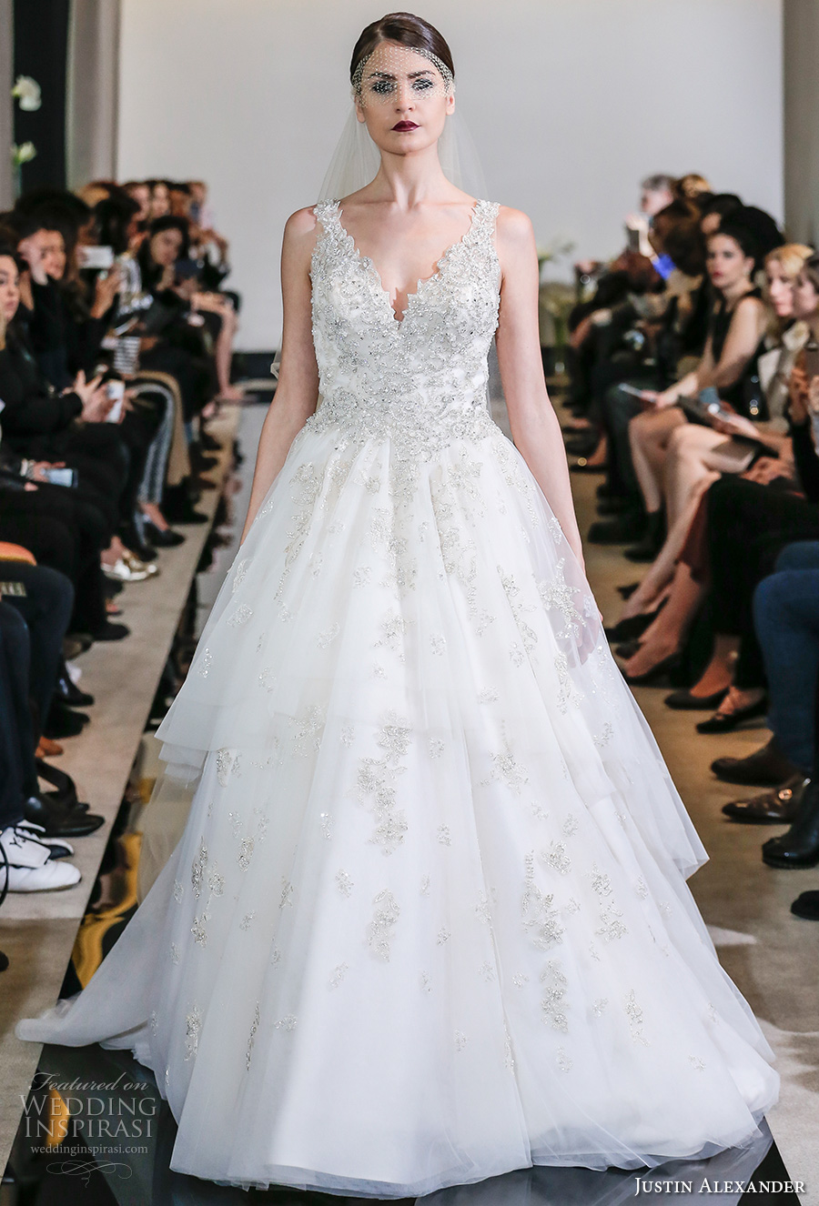justin alexander spring 2018 bridal sleeveless v neck heavily embellished bodice crystal beaded princess a  line wedding dress chapel train (25) mv
