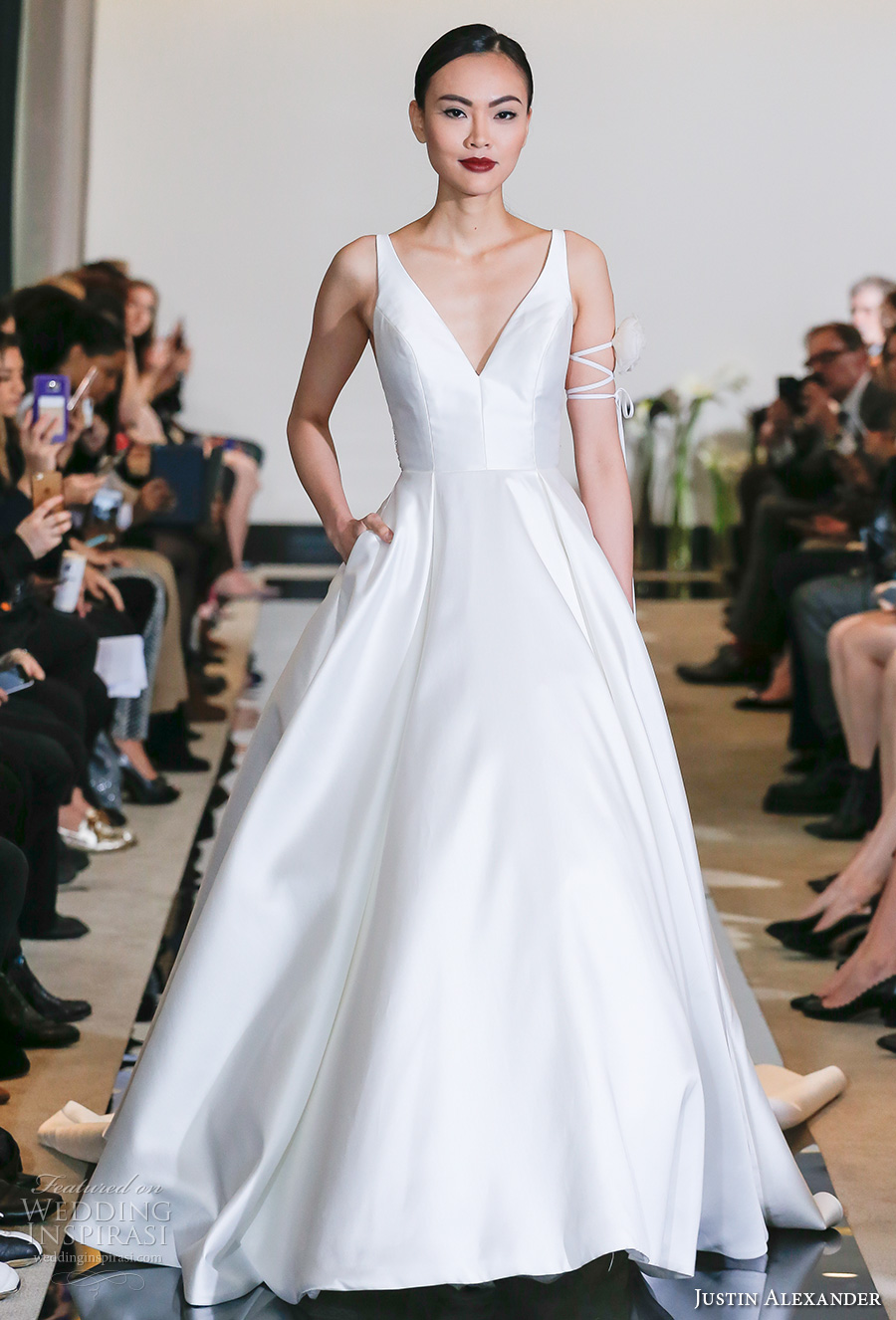 justin alexander spring 2018 bridal sleeveless v neck simple clean elegant elegant satin a  line wedding dress pockets chapel train (04) mv