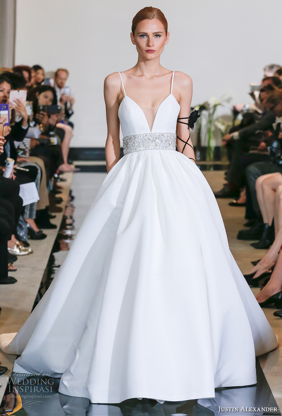 justin alexander spring 2018 bridal spagetti strap deep plunging sweetheart neckline simple clean embellished belt ball gown wedding dress chapel train (06) mv