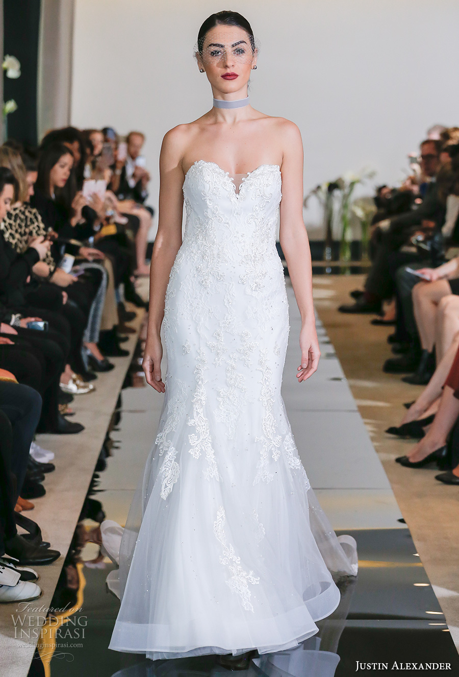 justin alexander spring 2018 bridal strapless sweetheart neckline heavily embellished bodice elegant fit and flare wedding dress chapel train (16) mv