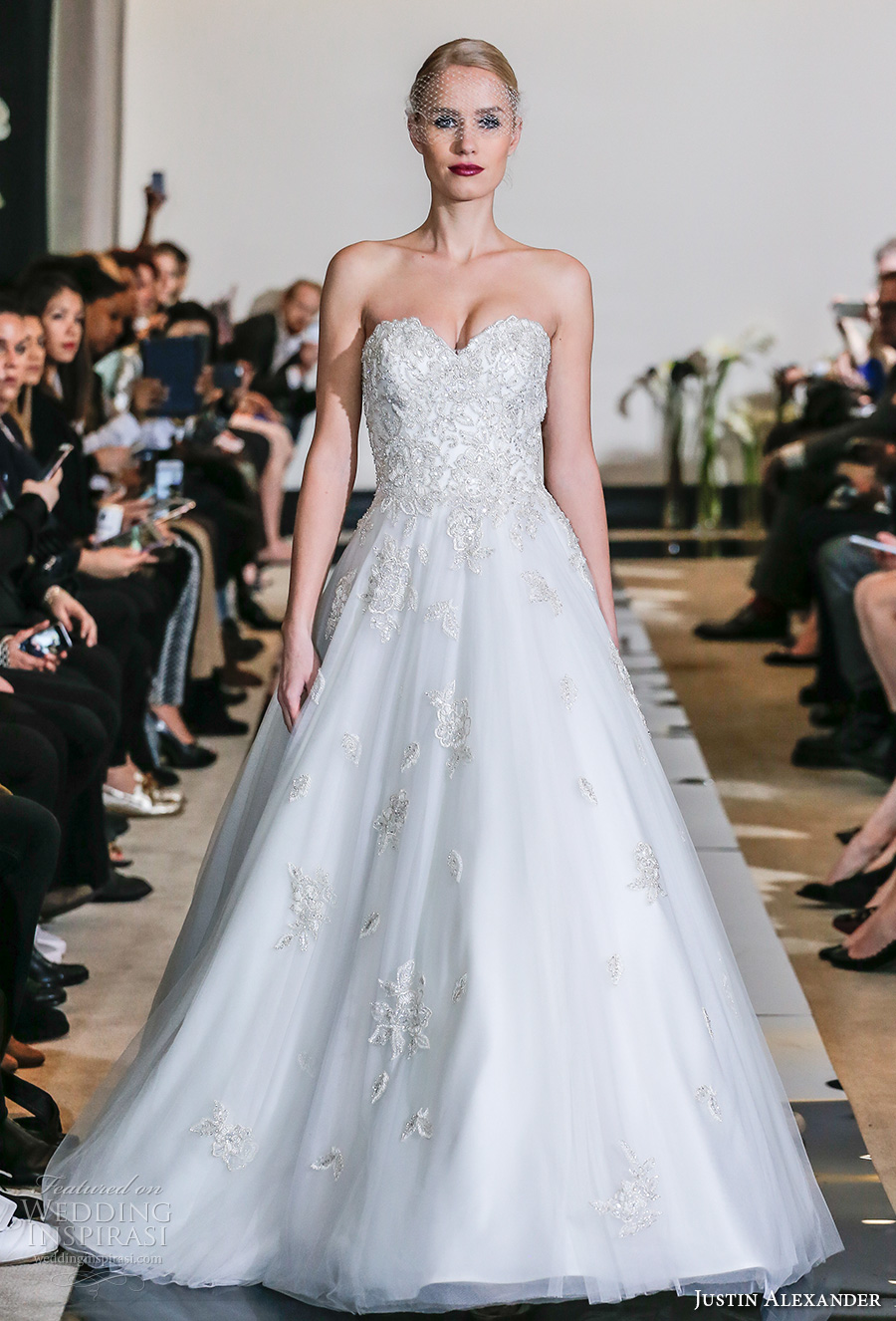 justin alexander spring 2018 bridal strapless sweetheart neckline heavily embellished bodice romantic a  line wedding dress chapel train (17) mv