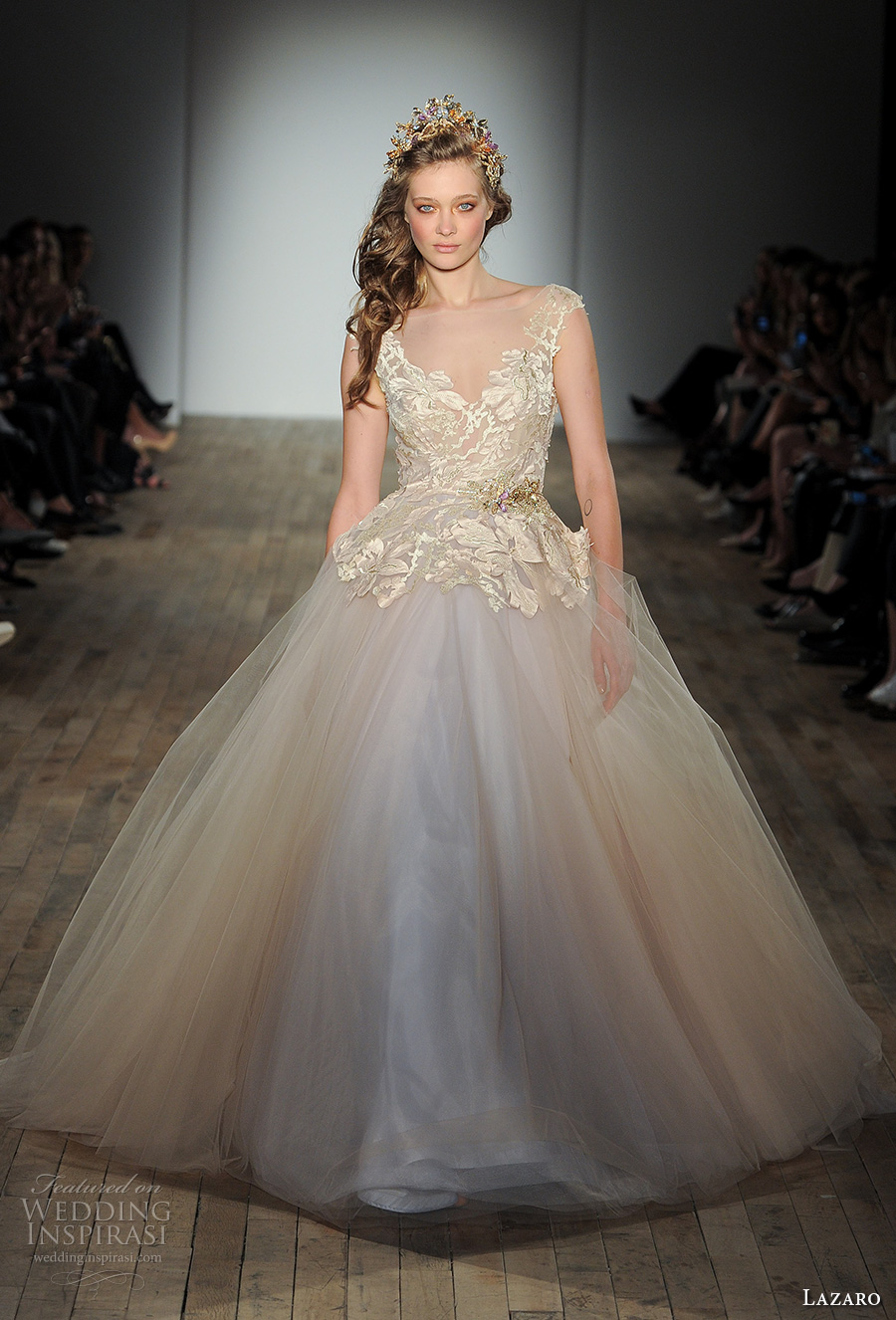 lazaro fall 2017 bridal cap sleeves v neck heavily embellished bodice tulle skirt gold champagne princess ball gown wedding dress open square back chapel train (01) mv