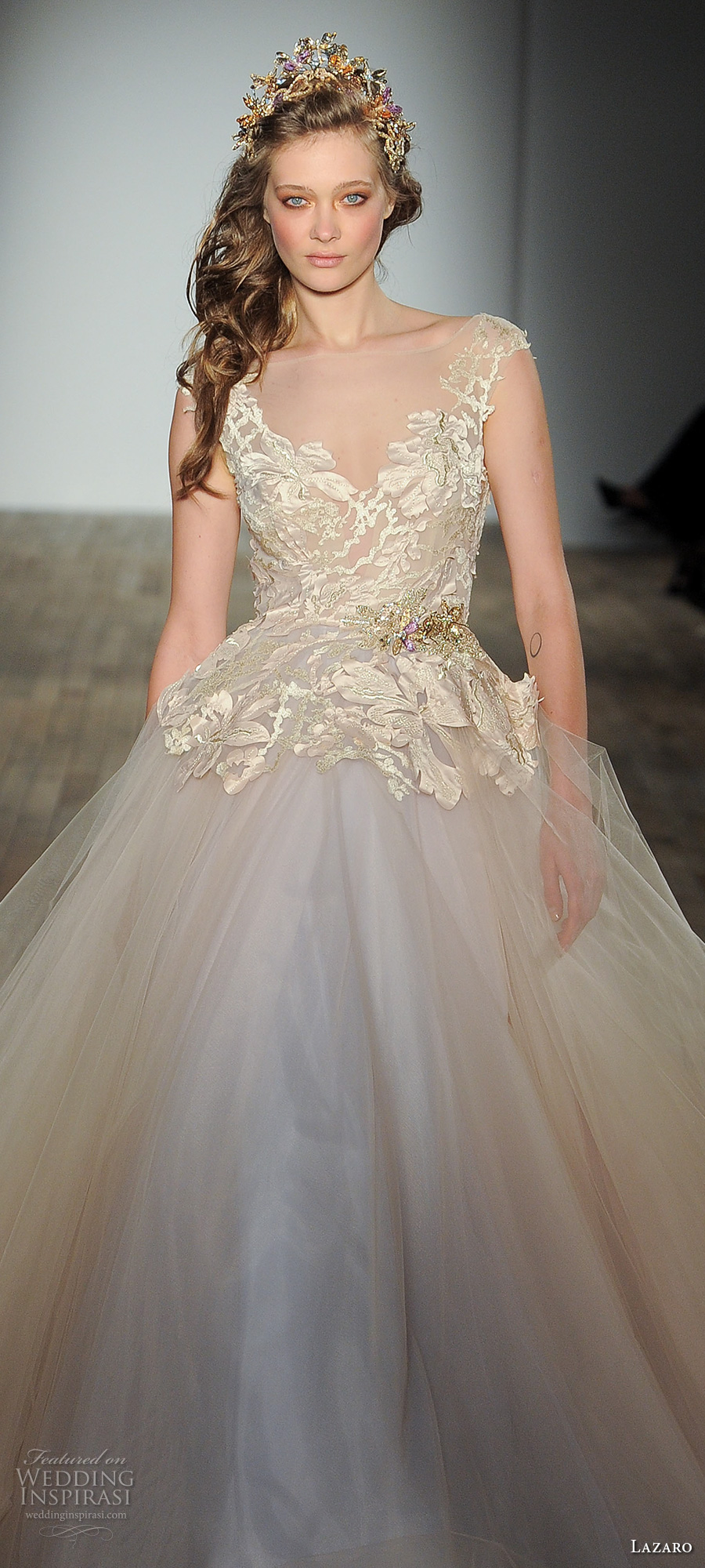 lazaro fall 2017 bridal cap sleeves v neck heavily embellished bodice tulle skirt gold champagne princess ball gown wedding dress open square back chapel train (01) zv