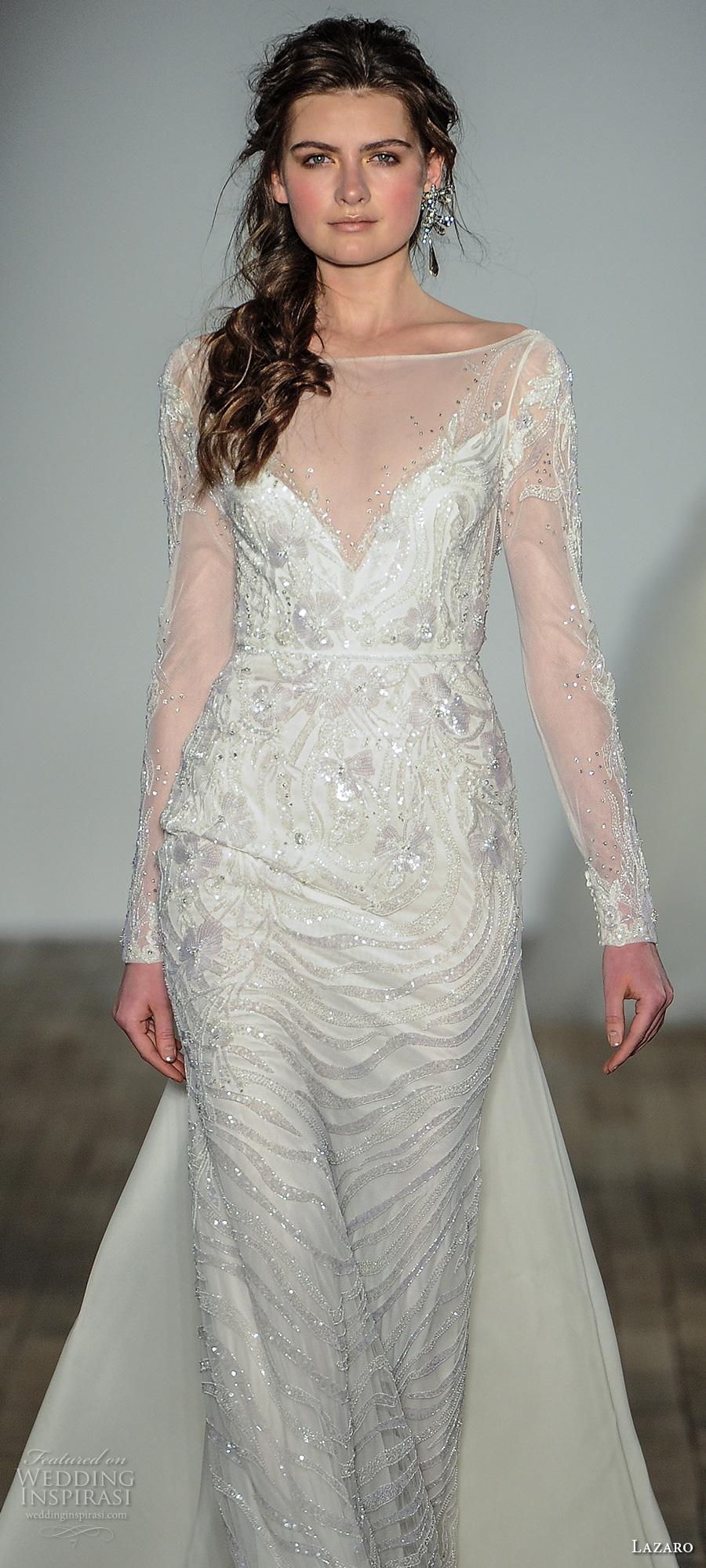 lazaro fall 2017 bridal llong sleeves illusion boat v neck full embellishment elegant glamorous sheath wedding dress open v back chapel train (08) zv