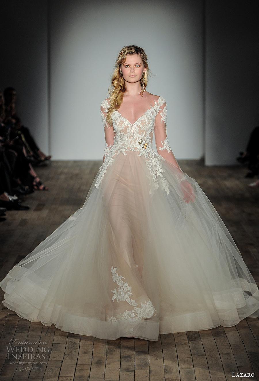 lazaro fall 2017 bridal long sleeves v neck heavily embellished bodice tulle skirt romantic princess ball gown wedding dress covered lace back chapel train (16) mv