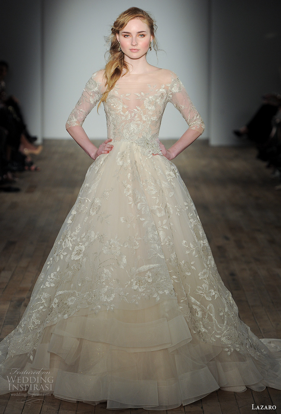 lazaro fall 2017 bridal off the shoulder illusion straight across neck full embellishment champagne color off white princess romantic a  line wedding dress chapel train (05) mv