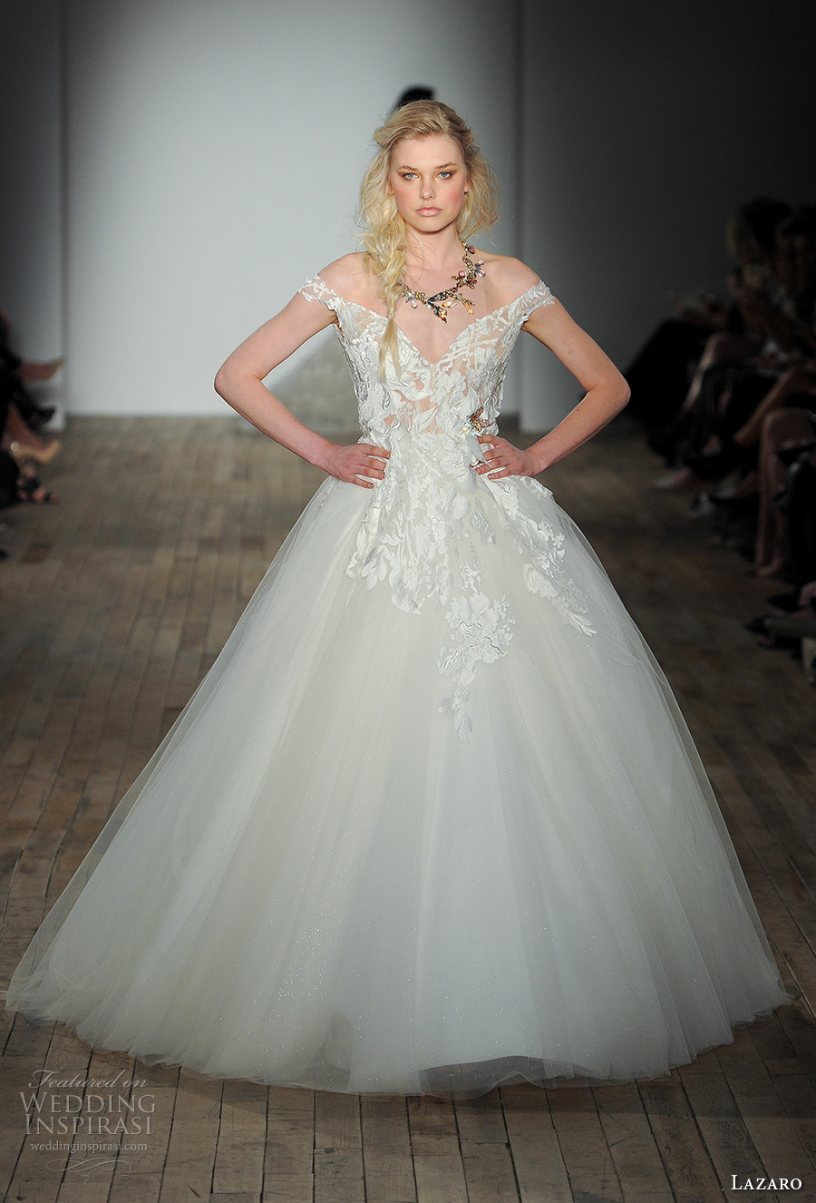 lazaro fall 2017 bridal off the shoulder v neck heavily embellished bodice tulle skirt princess ball gown wedding dress pocket open v back chapel train (07) mv
