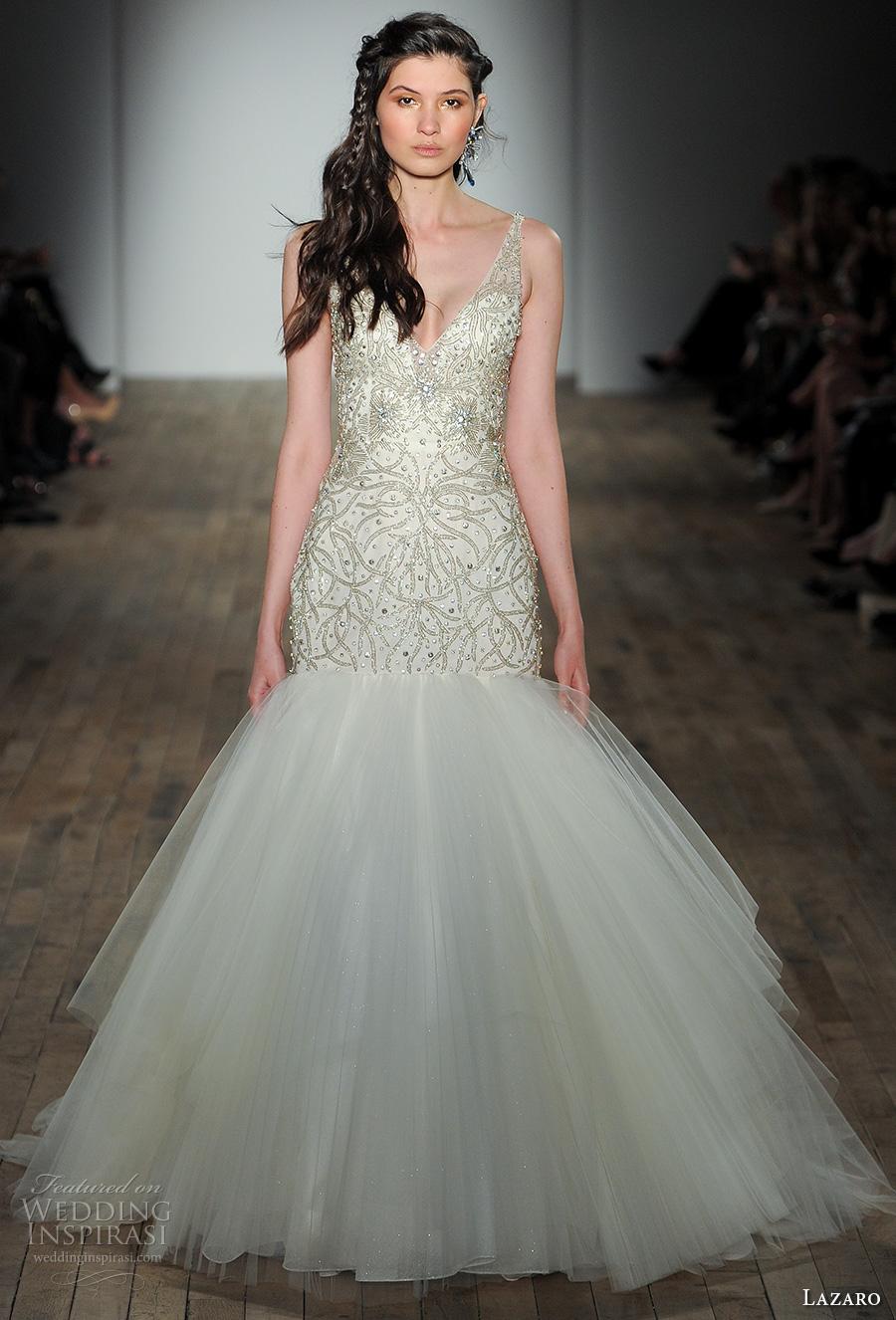 Glamorous Mermaid Wedding Dresses 39 Stunning lazaro fall bridal sleeveless