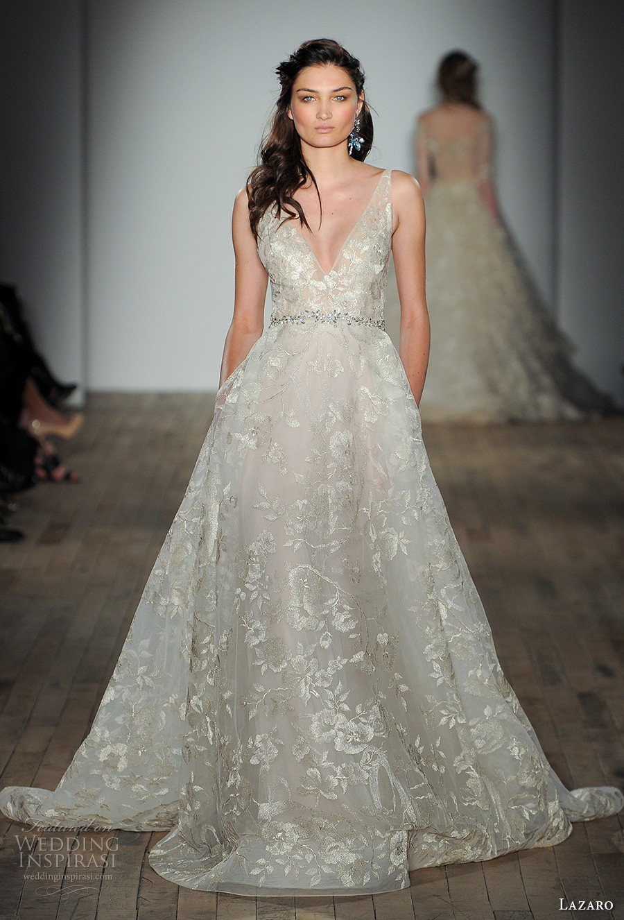 Lazaro fall 2017 wedding dresses new york bridal fashion for Floral wedding dresses 2017