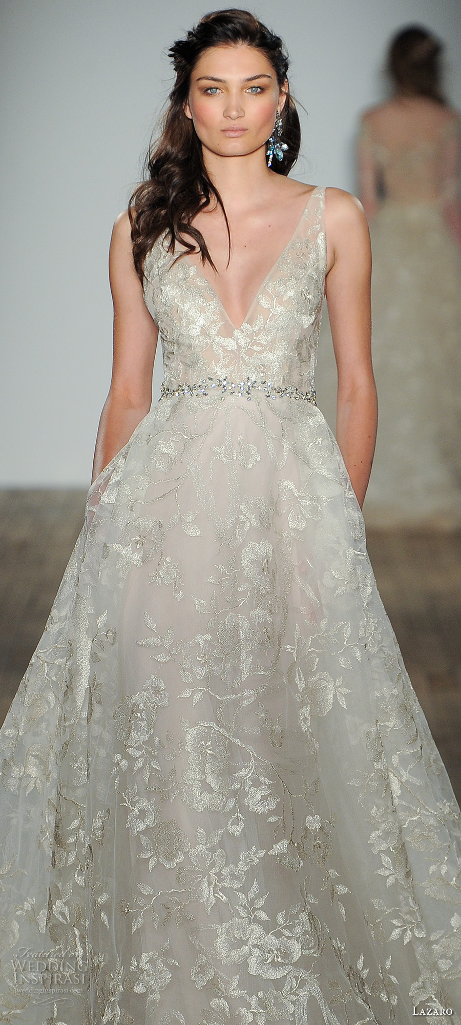 lazaro fall 2017 bridal sleeveless v neck full embellishment elegant romantic a  line wedding dress pocket open v back (06) zv