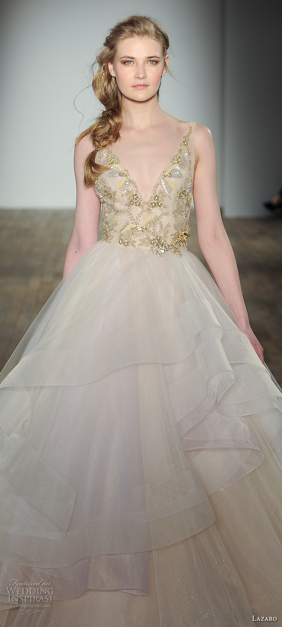 lazaro fall 2017 bridal sleeveless v neck heavily embellished bodice gold beaded layered skirt princess ball gown a  line wedding dress open v back chapel train (02) zv