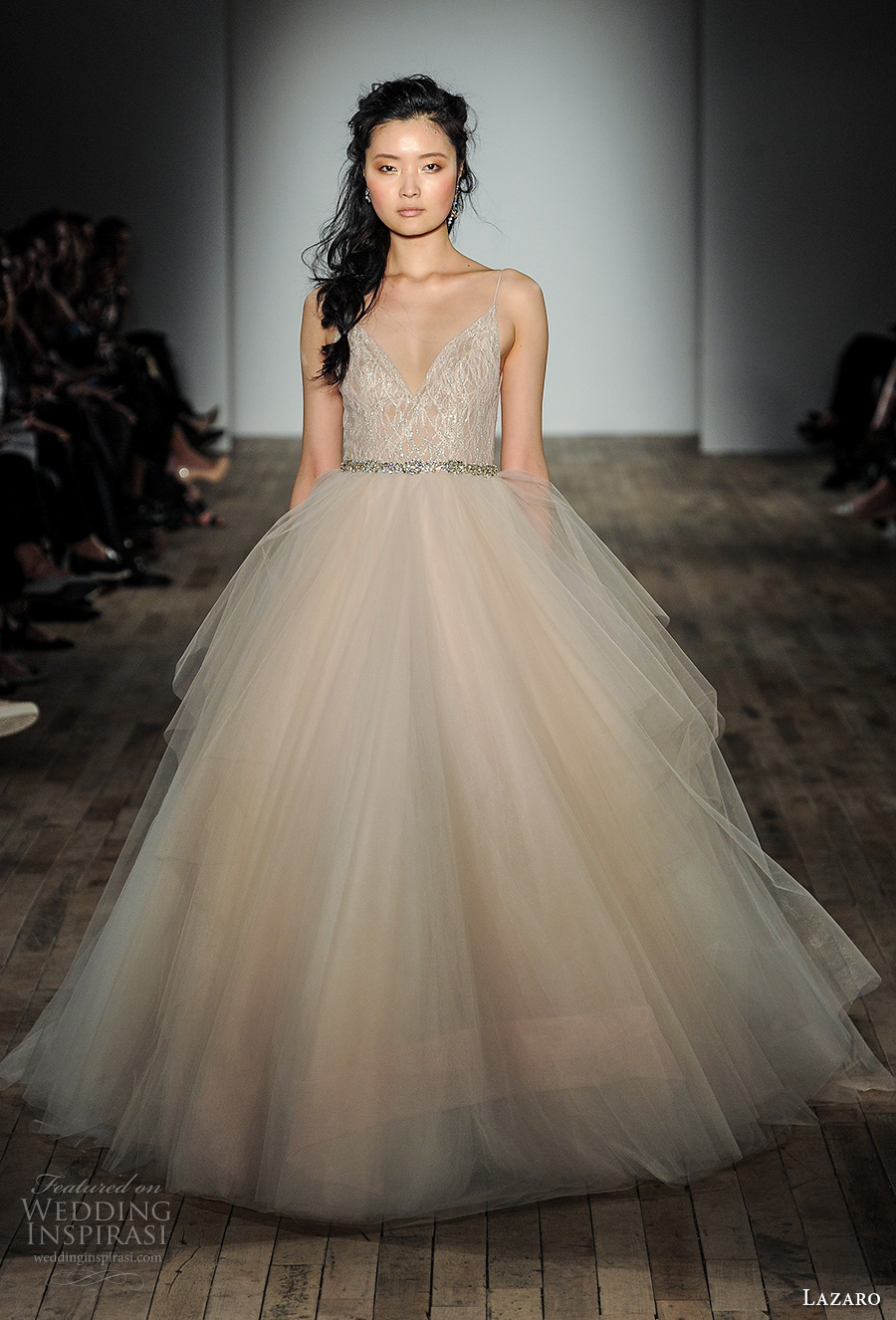 lazaro fall 2017 bridal spagetti strap v neck heavily embellished bodice tulle skirt champagne color romantic ball gown a  line wedding dress open v back chapel train (14) mv