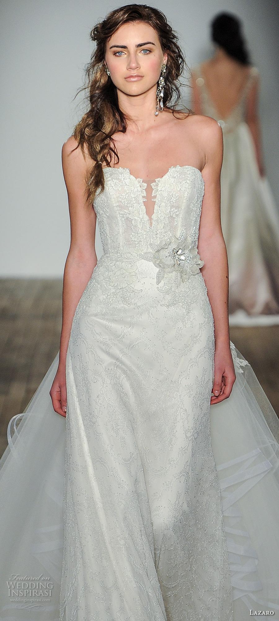 lazaro fall 2017 bridal strapless deep plunging sweetheart neckline heavily embellished bodice sexy elegant modififed a  line wedding dress overskirt chapel train (12) zv