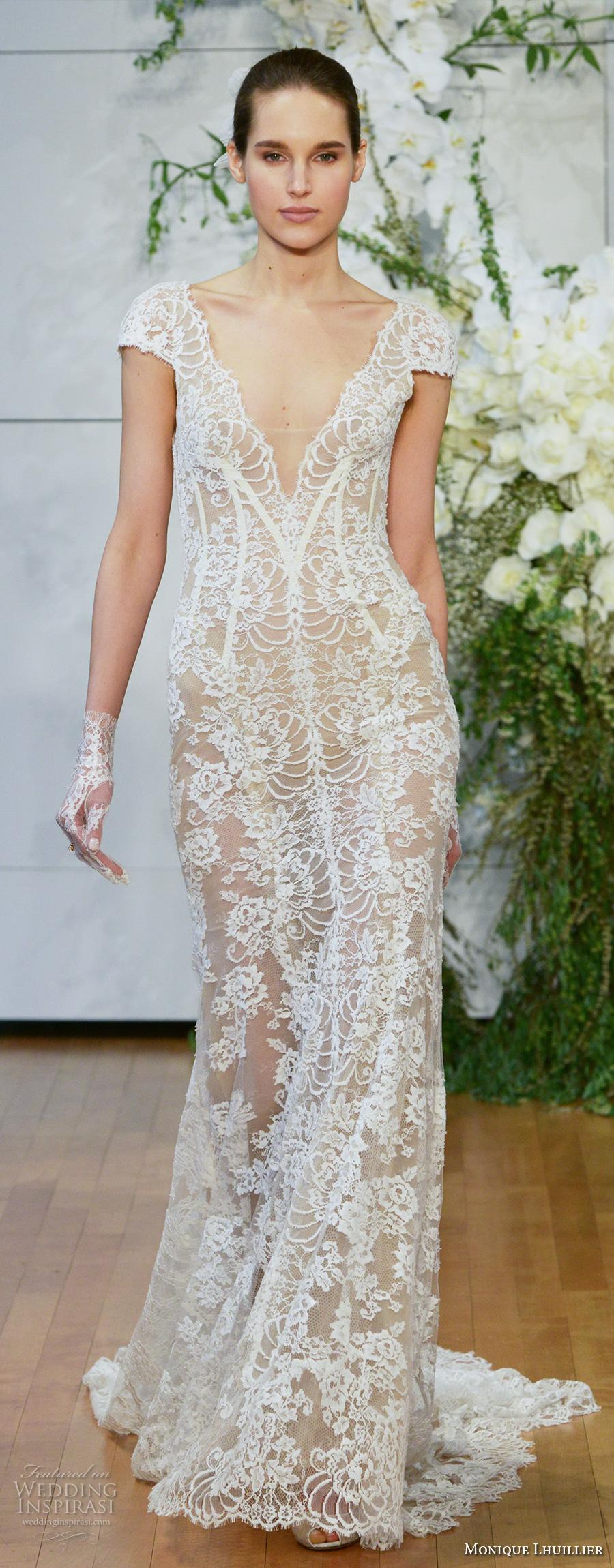 monique lhuillier spring 2018 bridal cap sleeves deep v neck full embellishment lace elegant sheath wedding dress open scoop back chapel back (arden) zv