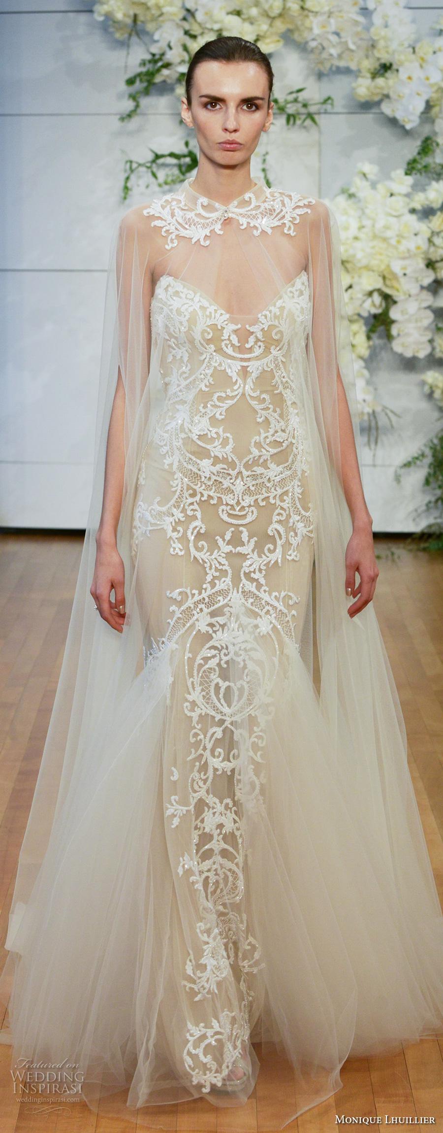 monique lhuillier spring 2018 bridal hanging sleeves illusion high neck sweetheart neckline full embellishment elegant glamorous sheath wedding dress chapel train (bastille) mv